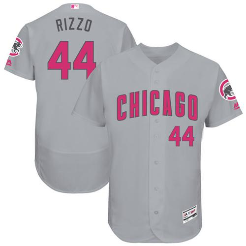 Cubs #44 Anthony Rizzo Grey Flexbase Authentic Collection Mother's Day Stitched MLB Jersey