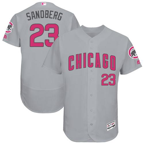 Cubs #23 Ryne Sandberg Grey Flexbase Authentic Collection Mother's Day Stitched MLB Jersey