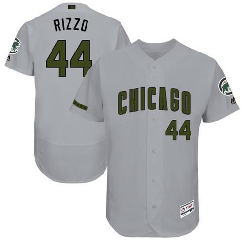 Cubs #44 Anthony Rizzo Grey Flexbase Authentic Collection Memorial Day Stitched MLB Jersey