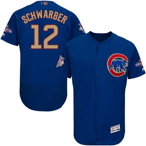 Cubs #12 Kyle Schwarber Blue Flexbase Authentic Gold Program Stitched MLB Jersey