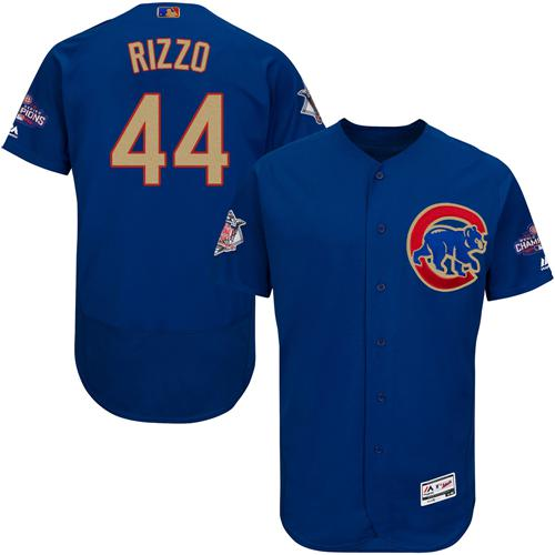 Cubs #44 Anthony Rizzo Blue Flexbase Authentic Gold Program Stitched MLB Jersey