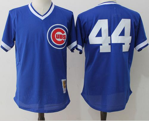 Mitchell And Ness Cubs #44 Anthony Rizzo Blue Throwback Stitched MLB Jersey