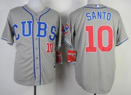 Cubs #10 Ron Santo Grey Alternate Road Cool Base Stitched MLB Jersey