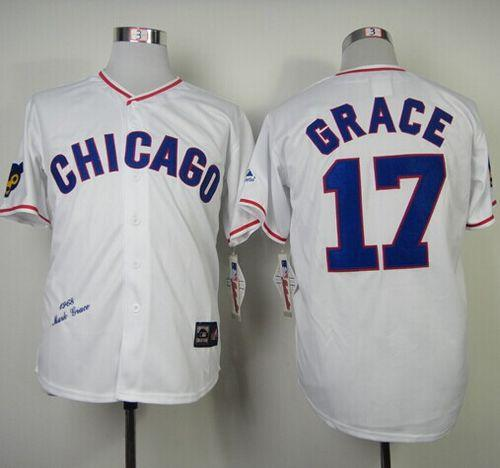 Mitchell And Ness 1968 Cubs #17 Mark Grace White Throwback Stitched MLB Jersey