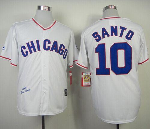 half off 5ab50 bc157 Mitchell And Ness 1968 Cubs #10 Ron Santo White Throwback ...