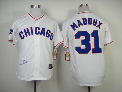 Mitchell And Ness 1988 Cubs #31 Greg Maddux White Throwback Stitched MLB Jersey