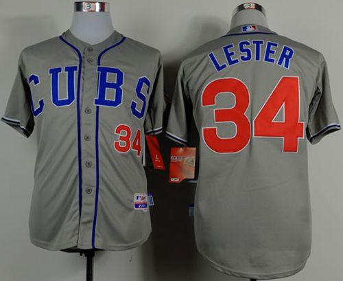 Cubs #34 Jon Lester Grey Cool Base Stitched MLB Jersey