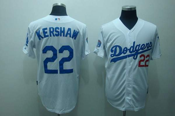 Dodgers #22 Clayton Kershaw Stitched White MLB Jersey