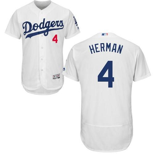 Dodgers #4 Babe Herman White Flexbase Authentic Collection Stitched MLB Jersey