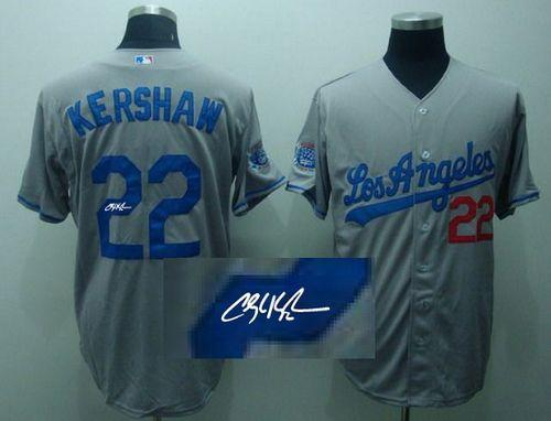Dodgers #22 Clayton Kershaw Grey Cool Base Autographed Stitched MLB Jersey