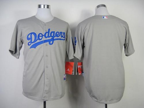 Dodgers Blank Grey w/50th Anniversary Dodger Stadium Patch Stitched MLB Jersey