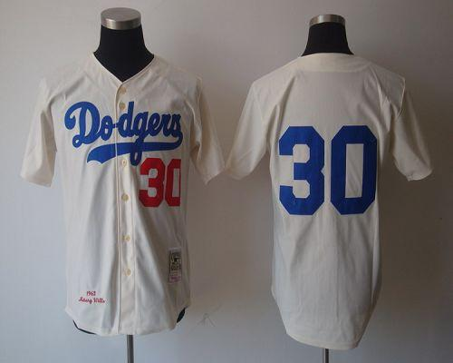 Mitchell And Ness 1962 Dodgers #30 Maury Wills Cream Stitched Throwback MLB Jersey