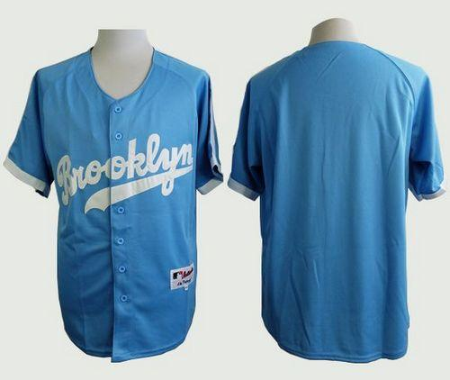 Dodgers Blank Light Blue Cooperstown Stitched MLB Jersey