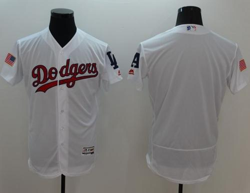 Dodgers Blank White Fashion Stars & Stripes Flexbase Authentic Stitched MLB Jersey