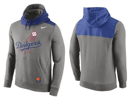 Men's Los Angeles Dodgers Nike Gray Cooperstown Collection Hybrid Pullover Hoodie_1
