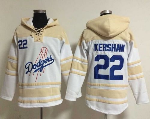 Dodgers #22 Clayton Kershaw White Sawyer Hooded Sweatshirt MLB Hoodie