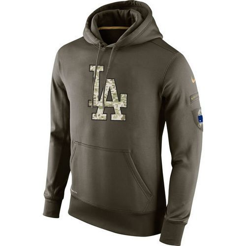 Men's Los Angeles Dodgers Nike Olive Salute To Service KO Performance Hoodie