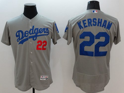 Dodgers #22 Clayton Kershaw Grey Flexbase Authentic Collection Stitched MLB Jersey