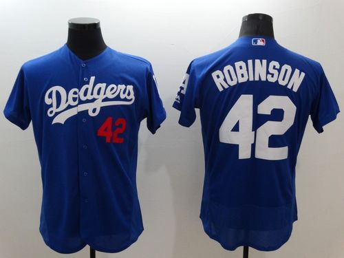 Dodgers #42 Jackie Robinson Blue Flexbase Authentic Collection Stitched MLB Jersey