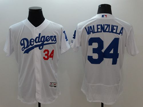 Dodgers #34 Fernando Valenzuela White Flexbase Authentic Collection Stitched MLB Jersey