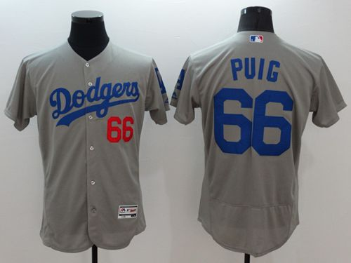 Dodgers #66 Yasiel Puig Grey Flexbase Authentic Collection Stitched MLB Jersey