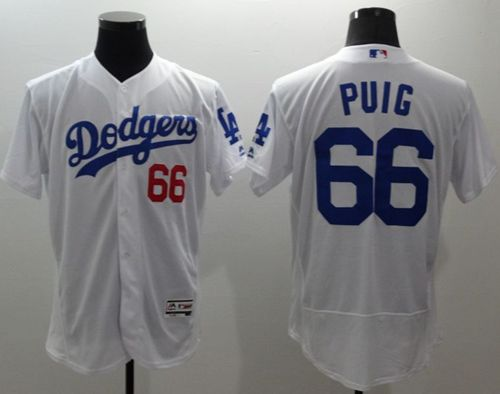 Dodgers #66 Yasiel Puig White Flexbase Authentic Collection Stitched MLB Jersey