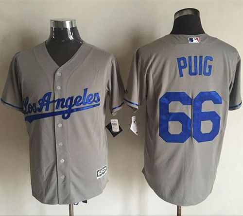 Dodgers #66 Yasiel Puig Grey New Cool Base Stitched MLB Jersey