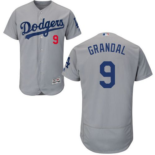 Dodgers #9 Yasmani Grandal Grey Flexbase Authentic Collection Stitched MLB Jersey