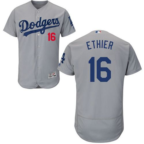 Dodgers #16 Andre Ethier Grey Flexbase Authentic Collection Stitched MLB Jersey