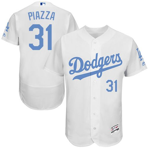 Dodgers #31 Mike Piazza White Flexbase Authentic Collection Father's Day Stitched MLB Jersey