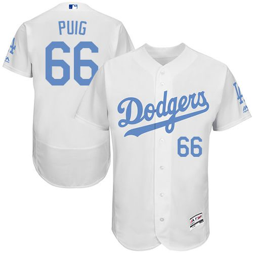 Dodgers #66 Yasiel Puig White Flexbase Authentic Collection Father's Day Stitched MLB Jersey