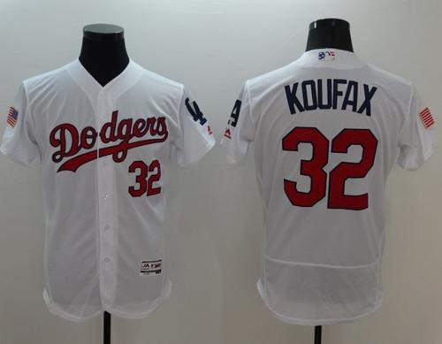 Dodgers #32 Sandy Koufax White Fashion Stars & Stripes Flexbase Authentic Stitched MLB Jersey