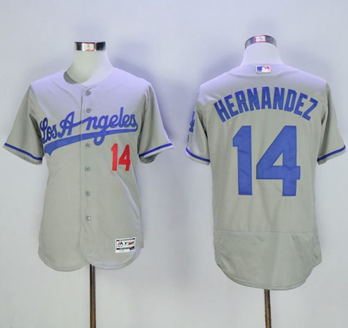 Dodgers #14 Enrique Hernandez Grey Flexbase Authentic Collection Road Stitched MLB Jersey