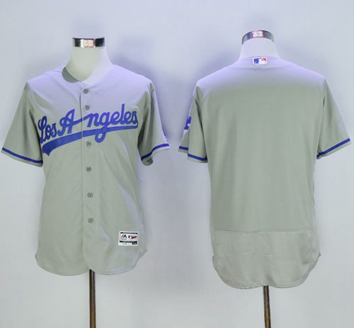 Dodgers Blank Grey Flexbase Authentic Collection Road Stitched MLB Jersey