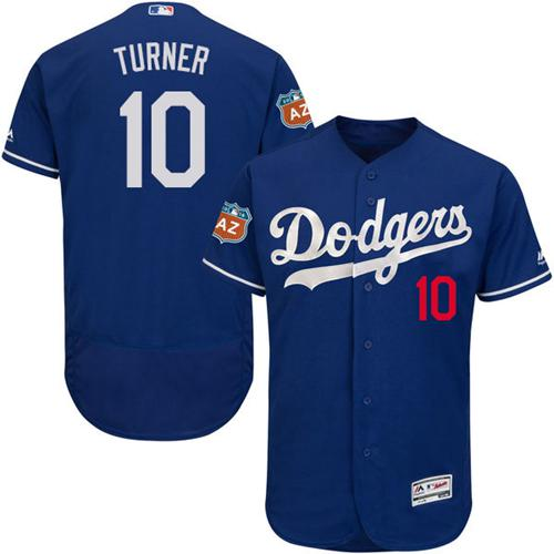 Dodgers #10 Justin Turner Blue Flexbase Authentic Collection Stitched MLB Jersey