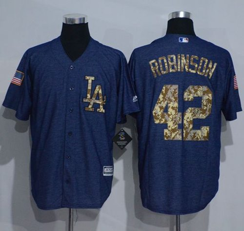 Dodgers #42 Jackie Robinson Denim Blue Salute to Service Stitched MLB Jersey