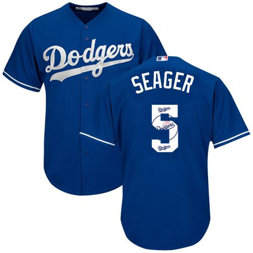 Dodgers #5 Corey Seager Blue Team Logo Fashion Stitched MLB Jersey