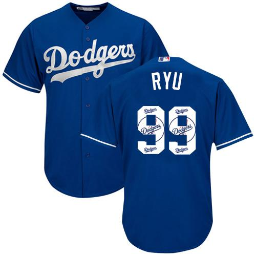 Dodgers #99 Hyun-Jin Ryu Blue Team Logo Fashion Stitched MLB Jersey