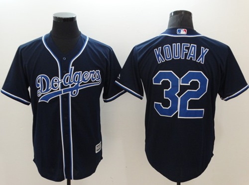 Dodgers #32 Sandy Koufax Navy Blue New Cool Base Stitched MLB Jersey