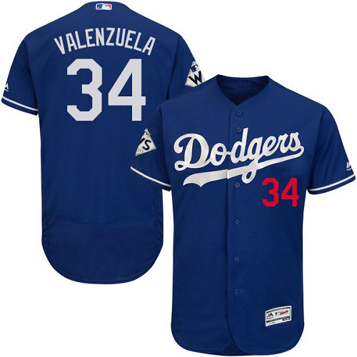 Dodgers #34 Fernando Valenzuela Blue Flexbase Authentic Collection World Series Bound Stitched MLB Jersey