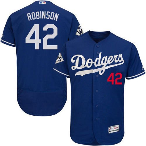 Dodgers #42 Jackie Robinson Blue Flexbase Authentic Collection World Series Bound Stitched MLB Jersey