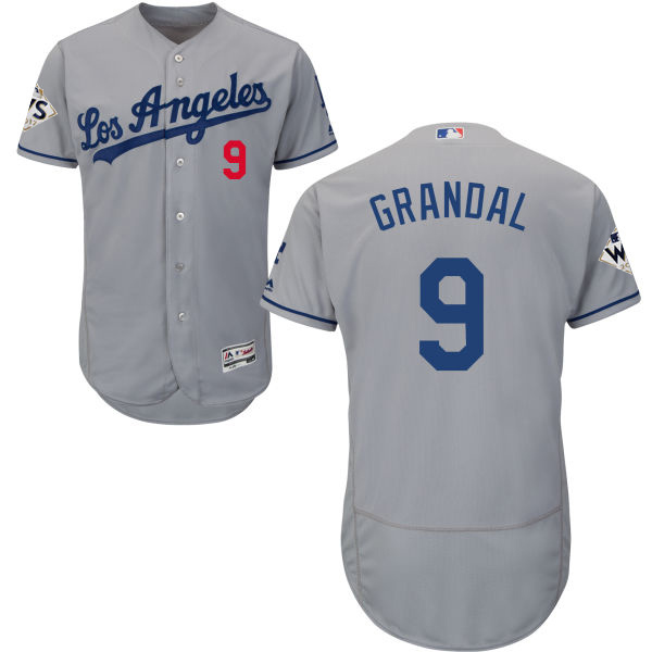 Dodgers #9 Yasmani Grandal Grey Flexbase Authentic Collection World Series Bound Stitched MLB Jersey