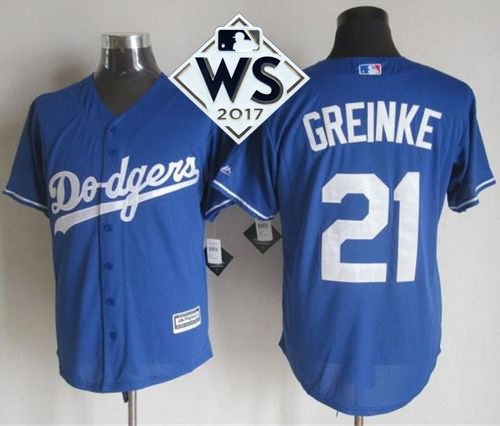 Dodgers #21 Zack Greinke Blue New Cool Base World Series Bound Stitched MLB Jersey