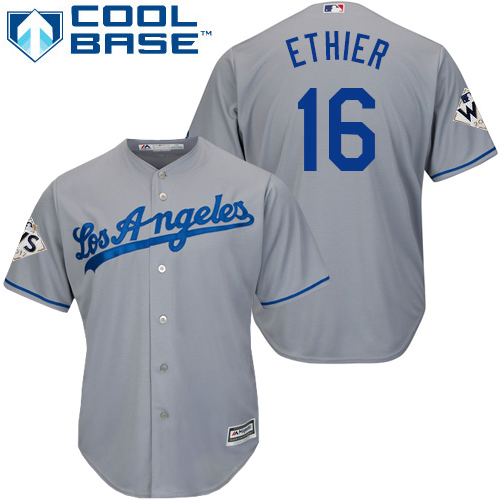 Dodgers #16 Andre Ethier Grey New Cool Base World Series Bound Stitched MLB Jersey