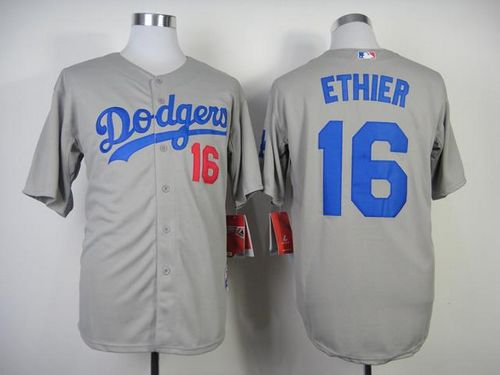 Los Angels Dodgers #16 Andre Ethier Stitched Grey MLB Jersey