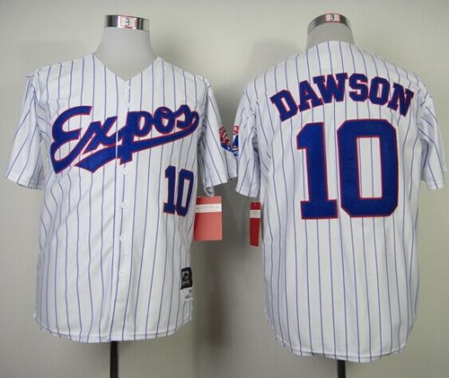 Mitchell and Ness 1982 Expos #10 Andre Dawson White Blue Strip Throwback Stitched MLB Jersey