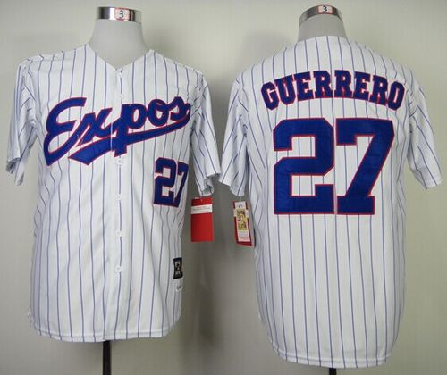 Mitchell and Ness 2000 Expos #27 Vladimir Guerrero White Blue Strip Stitched Throwback MLB Jersey