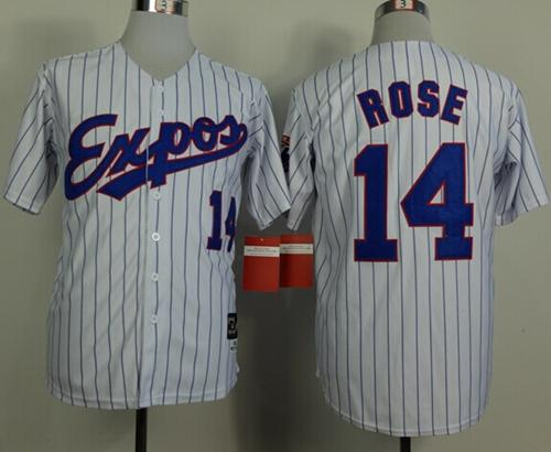 Mitchell And Ness 1982 Expos #14 Pete Rose White(Black Strip) Throwback Stitched MLB Jersey