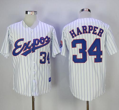 Mitchell And Ness Expos #34 Bryce Harper White Strip Throwback Stitched MLB Jersey