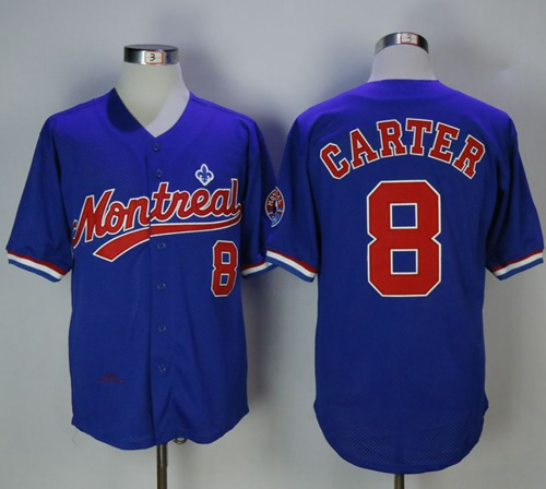 Mitchell And Ness BP Expos #8 Gary Carter Blue Throwback Stitched MLB Jersey